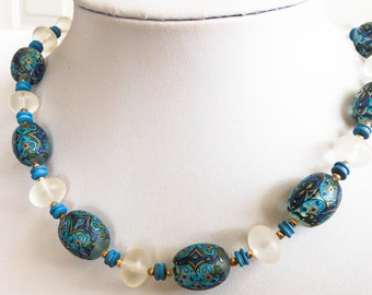 Vintage Blue  Bead Necklace     Acrylic Beads