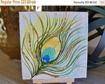 Clearance Peacock feather mini Painting with wooden easel, Textured feather design with gold leaf. Free Shipping