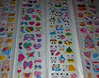 Set of 4 Sheets of Adorable Kawaii Puffy Stickers!!