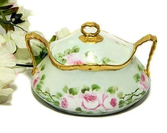Antique Coiffe Limoges Hand Painted Sugar Bowl Pink Roses
