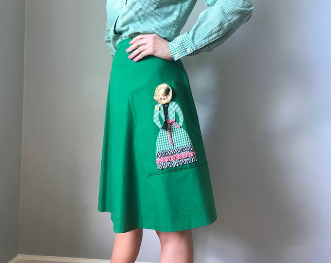 Vintage 70s Wrap Skirt Embroidered Señorita