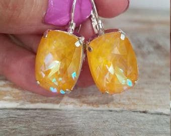 ON SALE ! Genuine Swarovski Fancy Ultra Rivoli Citrine Crystal Dangle Earings 18 x 13mm