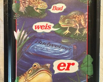 Vintage 1996 Anheuser-Busch Budweiser Tray Frogs  Collectors Item.  Great for a Wall Hanging or Beer Barware Collection