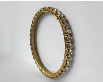 CIJ SALE Vintage Clear Rhinestone Bangle Bracelet Gold Tone MargsMostlyVintage