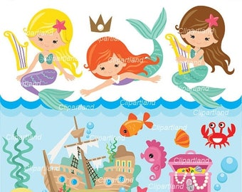 ON SALE INSTANT Download. Mermaids clip art. Cm_71. Personal and commercial use.