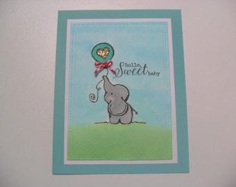 Baby Card - Baby Elephant Card - Watercolor Card - BLANK Inside