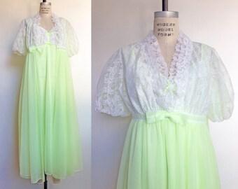 1960s Peignoir Set Lime Green Chiffon Robe Perri-Ann Nightgown Vintage 60s Lingerie Negligee White Lace / Medium