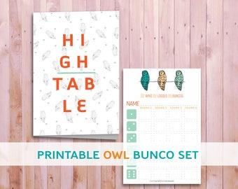 Owl Print Bunco Set, Printable Bunco Set, Matching Bunco Cards, Themed Party, Halloween Theme Party supplies, Green Orange Bunco Cards
