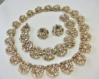 Trifari vintage gold tone flowers with clear rhinestone set of  necklace bracelet earrings