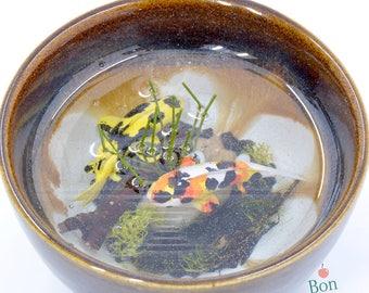 Miniature Koi Pond in Brown Cup Version 4, Polymer Clay Miniature Koi Fish, Miniature Resin Pond, Koi Pond Sculpture