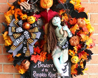 Pumpkin King Wreath, Nightmare Before Christmas Wreath, Jack Skellington Wreath, Halloween Wreath, Fall Wreath, Jack & Sally NBXmas