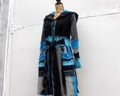Sweater Coat - Art to Wear - Katwise Inspired - Cashmere & Wool - Large XL - Turquoise Aqua - Boho - Upcycled Clothing - Felted Wool Jacket
