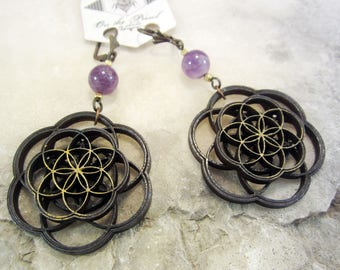 Flower of Life earrings, laser cut jewelry, amethyst, nature inspired jewelry, mandala earrings, sacred geometry, intricate jewelry