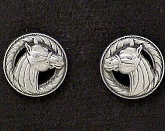 """Horse Head Conchos 1"""" Antique Nickel"""
