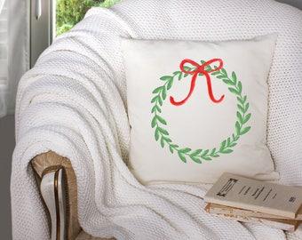 christmas throw pillow - watercolor christmas wreath - christmas wreath pillow - christmas wreath watercolor - watercolor christmas wreath