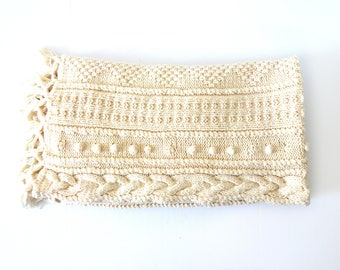 Vintage Ivory White Hand-Made Cable Knit Blanket / Throw / Afghan