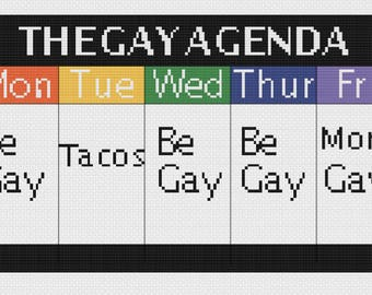 The Gay Agenda Cross Stitch Pattern