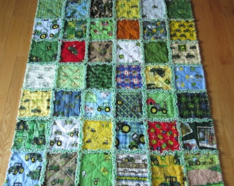 Large 39 x 45 John Deere  Rag Quilt  made with 42 Different Fabrics Baby Toddler Blanket