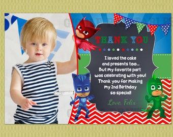 PJ Masks Birthday Thank You Card , PJMASK Thank You Card , DIY printable digital file