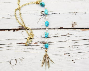 Summer Color--Trending--Turquoise Lariat Necklace--Vintage--Repurposed--One of a Kind--Gold--Stone--Tassel--Upcycled--Boho Style--On Trend