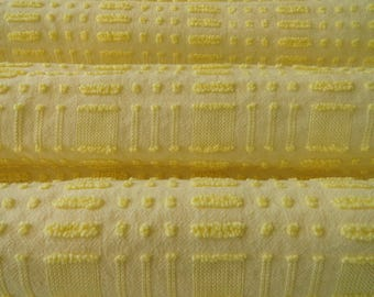 Yellow Morgan Jones Dot Dash Vintage Chenille Bedspread Fabric Piece...12 x 18""