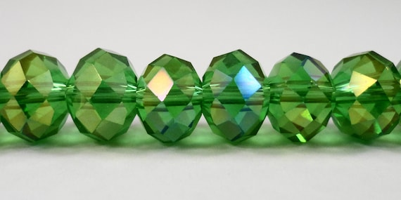 "Green AB Crystal Beads 10x7mm (7x10mm) Green Crystal Rondelle Beads, Faceted Chinese Crystal Glass Beads on a 6 1/2"" Strand with 24 Beads"