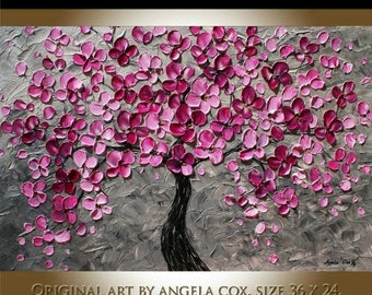 SALE Original   Plum  Blossom Tree   Landscape Acrylic  Impasto  Silver Plum  Painting. Made2 Order.