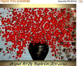 SALE Original Modern Red Flowers  Acrylic Textured  Heavy Impasto   Painting. Size 40 x 30.