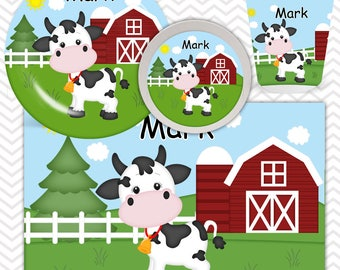 Cow Plate, Bowl, Cup, Placemat - Personalized Farm Dinnerware for Kids - Custom Tableware