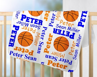 Personalized Basketball Baby Blanket - Basketball Receiving Blanket  - Custom Sport Blanket - Newborn Swaddling Blanket - Baby Photo Proper