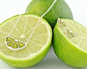 Silver lime Necklace, choker lime, Charm dainty pendant, enamel chain, lime jewelry, food jewels, enamel jewelry, green pendanr