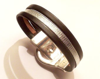 black and silver leather with silver belt magnetic clasp bracelet