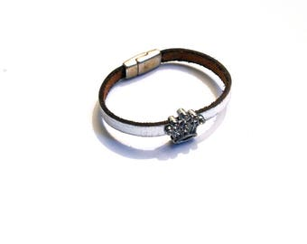 Silver leather strap and Crown rhinestone silver magnetic clasp