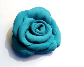 turquoise leather flower brooch