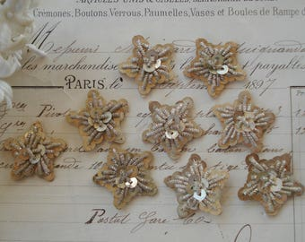 "1 Antique French 7/8"" c1920s Silver Bullion Sequin Paillette Metal Thread Star Snow Flake Applique Embellishment Christmas Ornament Trim"