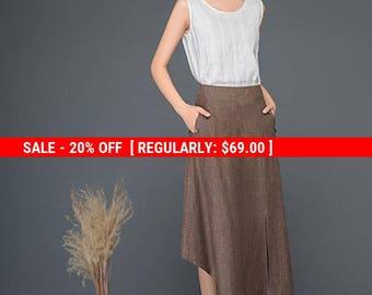 Brown linen skirt, linen skirt, midi skirt, split skirt, skirt, summer skirt, womens skirts, asymmetrical skirt, handmade skirt C1165