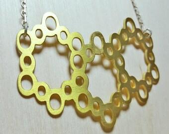 Honeycomb Necklace, Short Necklace, Unique Necklaces for Women, Unique Necklace for Girlfriend, Beehive Necklace, Statement Necklace