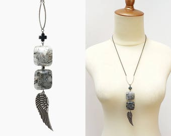 Wing Necklace with Stacking Black Rutilated Quartz Square Stones