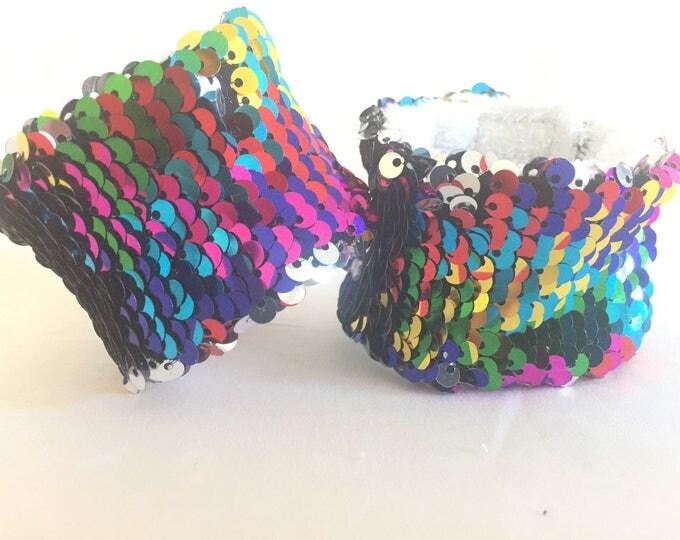 Sequin Mermaid Bracelet, Rainbow Fidget Bracelet, Sensory Tool, Double sided sequin, School Spirit Accessory, Calming