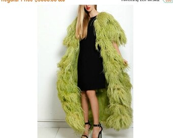FLASH SALE RESERVED Vintage 1960s Green Feather Marabou Maxi Coat Dress