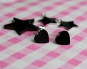 Black Heart Studs - Black Heart Earrings - Black Hearts - Minimalist Earrings - Small Studs - Heart Accessories - Love Heart Studs -