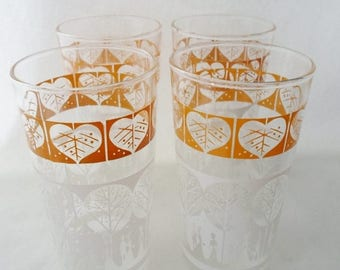ON SALE Vintage Set of Four Mustard Yellow and White Glasses, People Strolling Through The Park, Trees, Dog, Cottage Chic