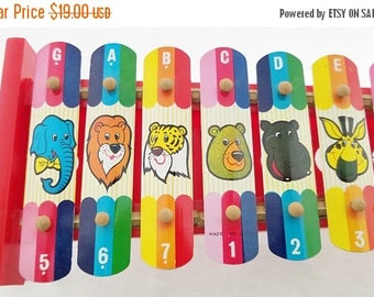 ON SALE Vintage Tin Toy, Xylophone for Children, Made in Japan, Toy, Animals, Letters, Numbers, Zoo Animals, Colorful, Musical Toy Instrumen