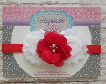 Valentine Headband, Red and White Baby Headband, Infant Headband, Newborn Headband, Red Headband, Red and White Headband, Heart Headband