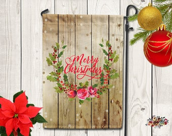 Holiday Holly Wreath Garden Flag - Home Decor - Merry Christmas Yard Flag - Christmas Garden Flag - Snowman - Family Garden Flag