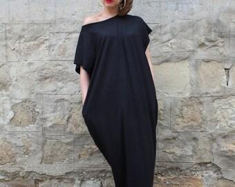 SALE ON 20 % OFF Black Maxi Dress, Cotton Knit Caftan Dress, Plus Size Dress, Beach Dress, Plus Size Clothing, Sizes S through 4X