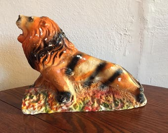Chalkware Lion with stripes like a Tiger Carnival prize circus animal plaster figurine vintage 1930s Art Deco era
