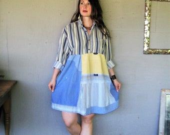 upcycled clothing Bohemian dress Wearable Art tunic XL 1X 2X Romantic recycled patchwork Boho Gypsy Aline shirt dress LillieNoraDryGoods