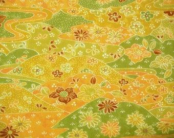 Landscape scene Vintage Japanese jinken kimono fabric