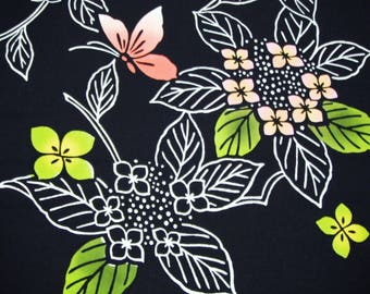 Ajisai Cho Cho Vintage Japanese indigo cotton yukata fabric. Vintage kimono fabric